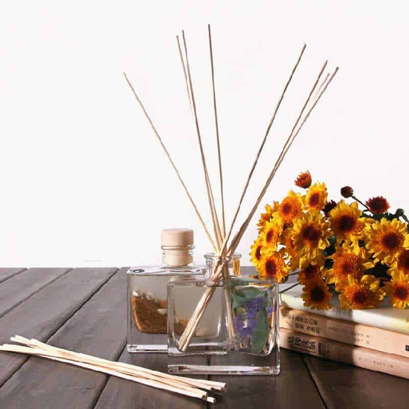 reed diffuser on table